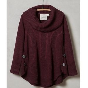 NWT ANTHRO ANGEL OF NORTH PURPLE COWL NECK SWEATER